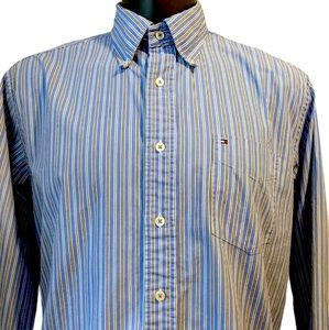 Tommy Hilfiger striped button front shirt large